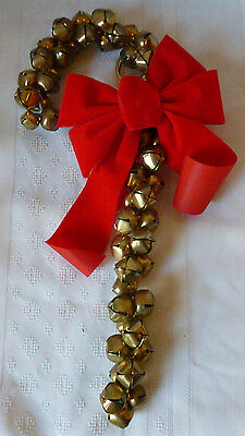 """Jingle Bell Candy Cane Door Hanging Holiday Bells Christmas Decoration 13"""""""