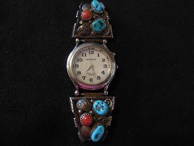 Old Pawn Hopi Ramona Loloma Coral Turquoise 925 Sterling Silver Watch Cuff Ends
