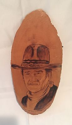 "JOHN WAYNE ""THE DUKE"" 12x5.5"" BURNED WOOD COWBOY WALL PLAQUE PYROGRAPHY"