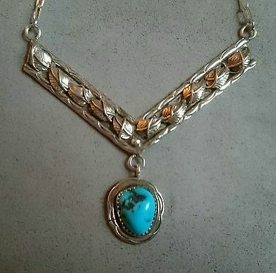 NAVAJO Sterling Silver Turquoise VINTAGE Pendant / Necklace NATIVE AMERICAN