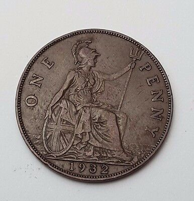 1932 - Copper - One Penny - Great Britain - King George V - English UK Coin