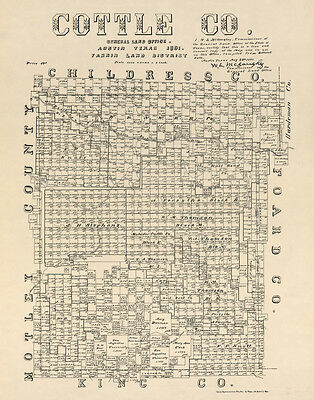 1891 Farm Line Map of Cottle County Texas