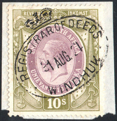South West Africa KGV 10s Revenue forerunner, clear WINDHUK 31 AUG 21 cancel