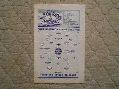 West Brom Res V Sheffield Utd Res Central League Match Programme 1964