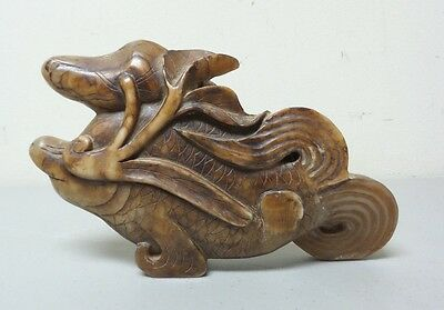 "Wonderful Antique Chinese Carved Hard Stone 7.75"" Fish Sculpture"