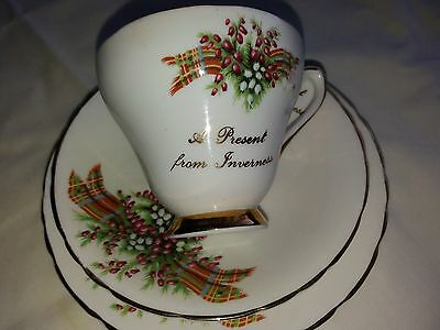 Vintage  Heather  Bone  China  Trio  Set -   A  Present  From  Inverness