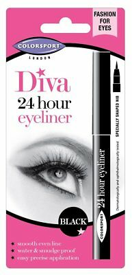 Colorsport Diva 24 Hour Eyeliner Black Waterproof Smudge-proof Fast Drying Easy