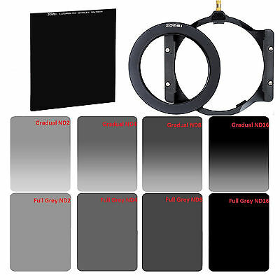 ZOMEI 72mm Ring+Holder+Cokin Filter Kit GND&ND2,ND4,ND8,ND16+100mm Glass ND1000