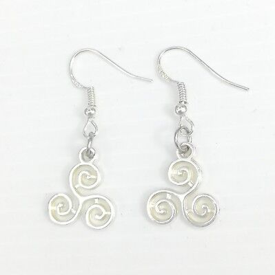 925 Sterling Silver Hooks Vintage Silver Alloy Dangle Retro Love Heart Earrings