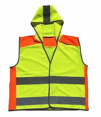 Kids Hi Vis with Hood Childrens Vest Visibility Waistcoat Childs All SIzes 4-13