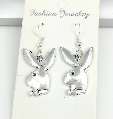 925 Sterling Silver Hooks Silver Alloy Playboy Bunny Rabbit Animals Earrings NEW