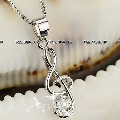 XMAS GIFTS FOR HER - Silver 925 Treble Clef Note Diamond Necklace Women Girls B4