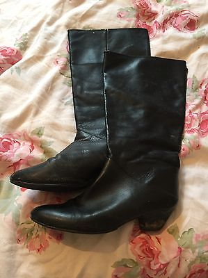 Vintage Black Leather Pirate Boots From 80s Size 5 / 38