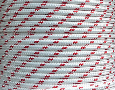 8mm x 100m Polyester Rope Double Braided White Black Red Yacht Sailing Mooring