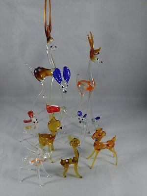 Joblot Of 9 Vintage Glass Deer Collection Of Glass Animals Ornaments Figurines