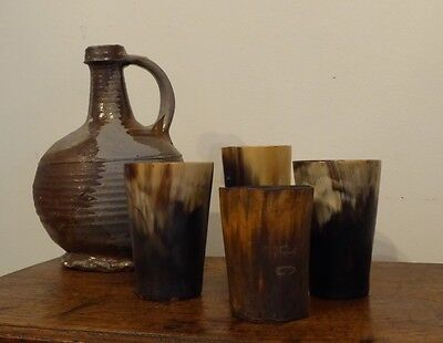 Four 19th Century Horn Hunting Beakers One Initialled J.C
