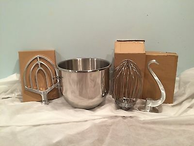 New 20 Quart Qt Bowl/Attachment Bundle Whip, Beater, Hook Fits Hobart A200