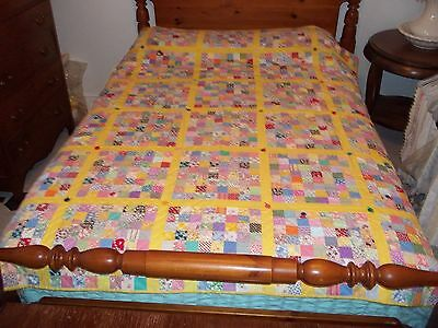 """Vintage  Handmade  Patchwork Quilt 66"""" By 79"""""""