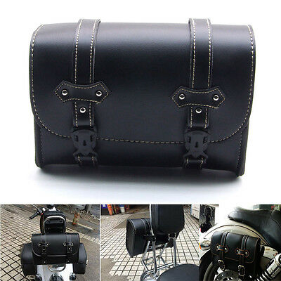 Motorcycle Saddle PU Leather Side Bag Storage Tool Pouch For HarleyDavidson