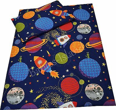 Cot/cot bed/ Toddler bedding pillowcase/sheet/curtains/duvet cover SPACE SHIPS