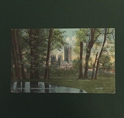 Vintage Postcard - Canterbury Cathedral From The River - 1906
