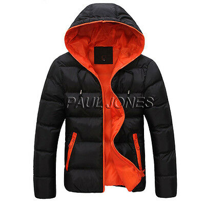 Size L Mens Warm Padded Thicken Padded Jacket Hooded Coat Parka Overcoat Tops
