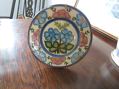 Vintage Old Small Studio Pottery Display plate hand painted glased stand clay