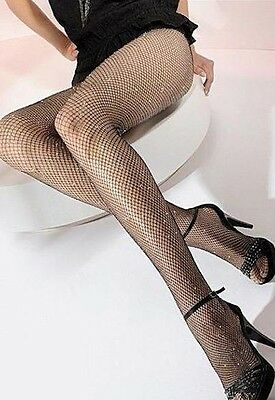 Mondor 322 Women's One Size Fits Most Silver/Black Seamless Fishnet Tights