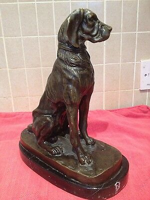 Heavy bronze statue of a dog in a sitting position set on a plinth.