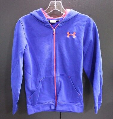Girls Youth Under Armour Zip Up Sweatshirt Hoodie Size M - Royal Blue & Hot Pink
