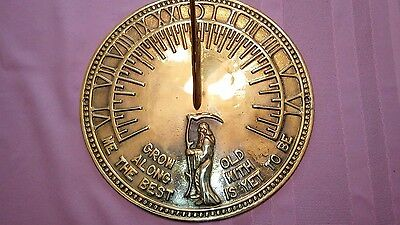 Solid Brass Father Time Garden Sundial New In Box Beautiful Great Gift