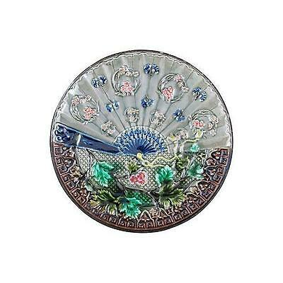 19th Century D&G Continental Majolica Fan & Floral Plate
