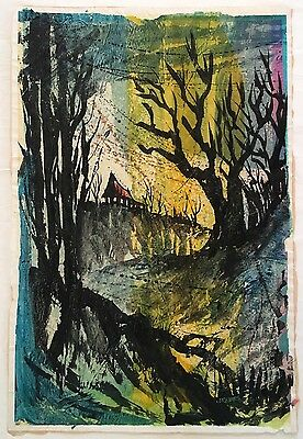 Werner Drewes American  Modern Watercolor Mixed Media Collage Signed Listed 1969