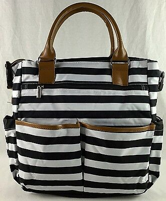 Stylish Tote Nappy Bag - Black/White Stripe with Changing Pad - Tan Trim with Sh