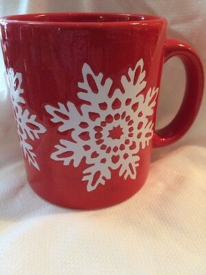 Vintage Waechtersbach Red Snowflake Christmas Holiday Coffee Mug Cup W.Germany