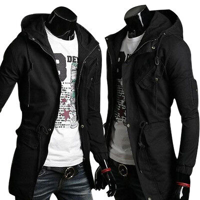 Size M Casual Mens Jacket Hooded Parka Winter Warm Trench Long Coat Overcoat