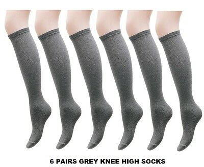 6 Pairs Grey Girls Kids Back To School Plain Knee High Long Socks Cotton PKMHJN