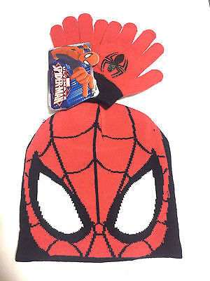 Official Marvel Boys  Ultimate Spiderman Beanie Winter Hat Gloves 2 Piece Set