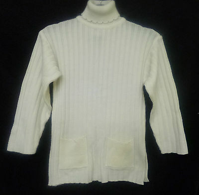 """Girls Vintage 90s Cream Ribbed Long Polo Neck Jumper Age 7/8 Chest 26"""""""