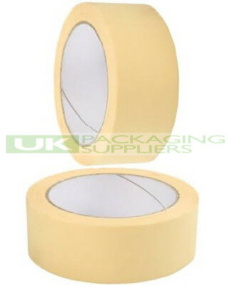 "6 ROLLS OF 50mm 2"" WIDE MASKING TAPE 50 METRES PER ROLL DIY PAINTING BODYWORK"
