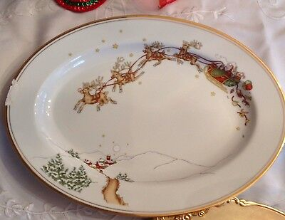 """Fitz And Floyd St. Nicholas Christmas Meat Serving Platter  Dish 14 1/2"""" Damaged"""