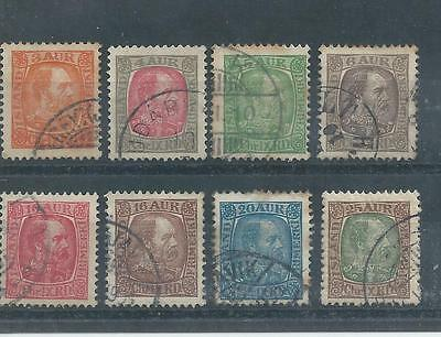 Iceland - 1902 Definitives - Eight different values - Postally used