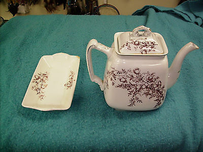 Antique Teapot Maddock & Co.w/scone dish