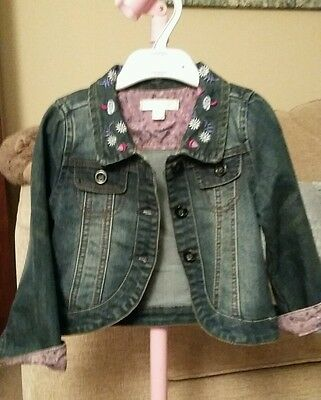 Girls denim jacket with embroidered collar age 4 Pumpkin Patch