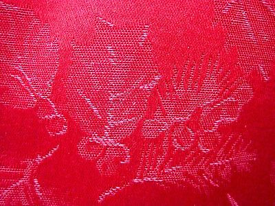 "Elegant Spode Red Holly Damask Tablecloth 82"" x 110"" Rectangle Recently Laundred"