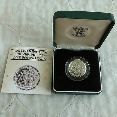 UK 1983 £1 PIEDFORT SILVER PROOF - boxed/coa