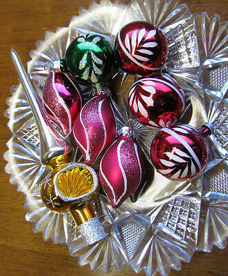 VINTAGE Christmas Glass Tree Topper Silver & Yellow Feather Tree & Ornament LOT