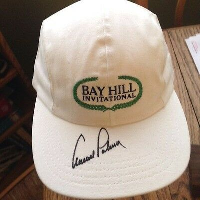 """Classic! """"arnold Palmer"""" Autographed Bay Hill Invitational Collectible Golf Hat!"""