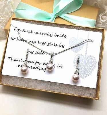 Wedding Blush pearl necklace earrings jewelry set bridesmaid gift