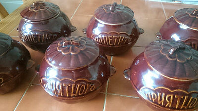 Ukrainian Handmade Clay Pots with embossed pattern, lovely 6 piece set with lids